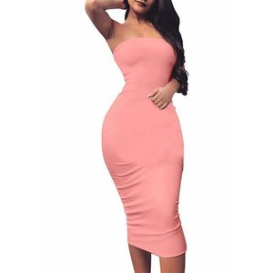 Sexy Basic Sleeveless Tube Top Bodycon Midi Dress